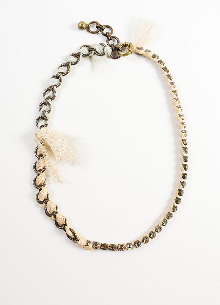 Lanvin Bronze Toned and Nude Tulle Ribbon Trim Chain and Crystal Necklace Frontview