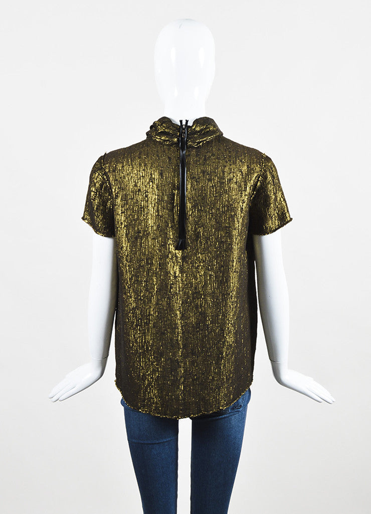 Lanvin Gold Metallic Textured Silk Lame Short Sleeve Neck Tie Blouse Top Backview