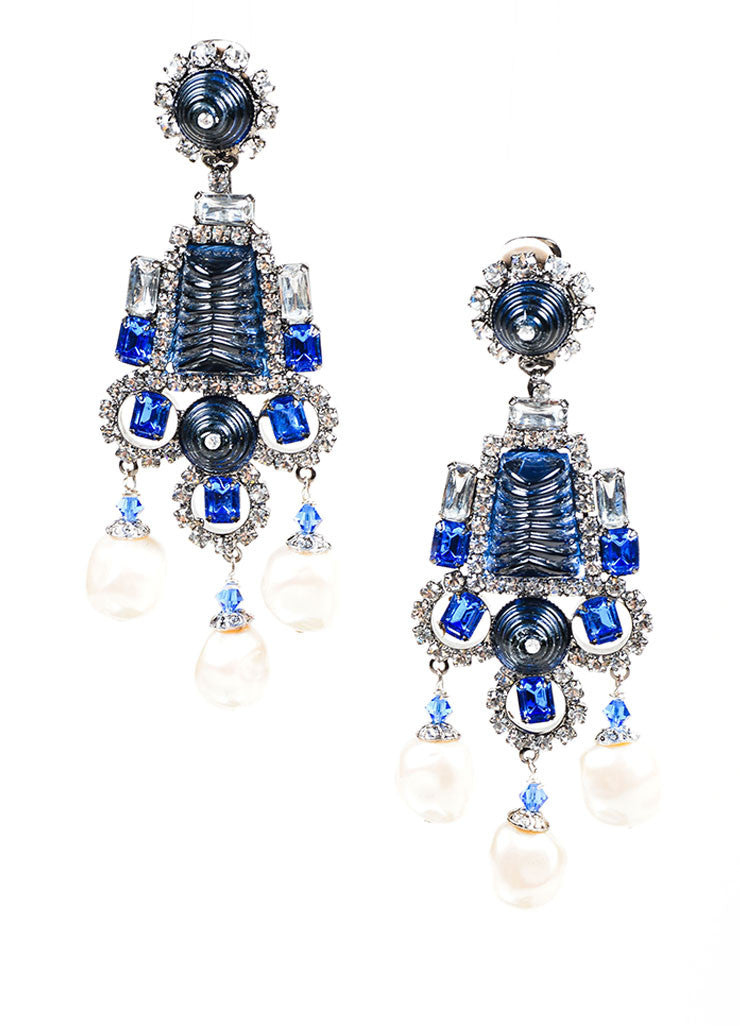Blue Rhinestone Lawrence VRBA Deco Dangle Earrings Front