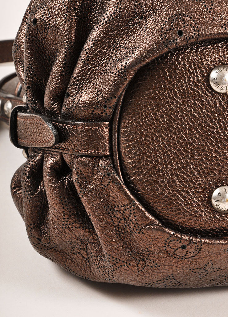 "Louis Vuitton Bronze Metallic ""Mordore"" Perforated Leather ""Mahina XS"" Bag Detail"