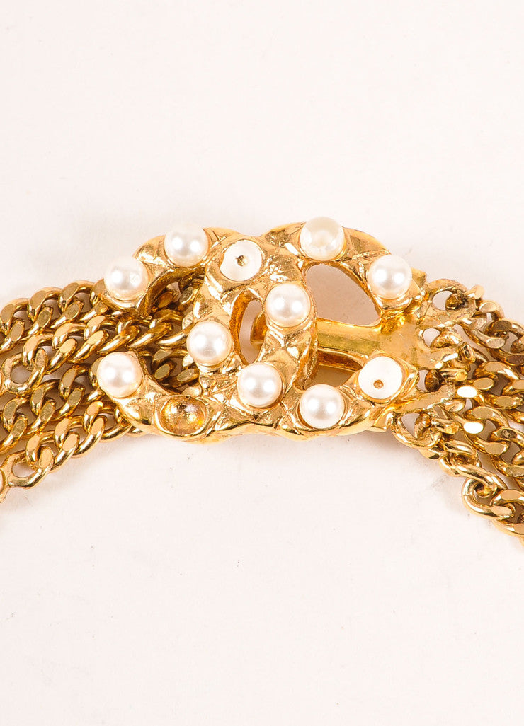 "Chanel Gold Toned and Faux Pearl ""CC"" Multi Strand Chain Belt Detail 2"