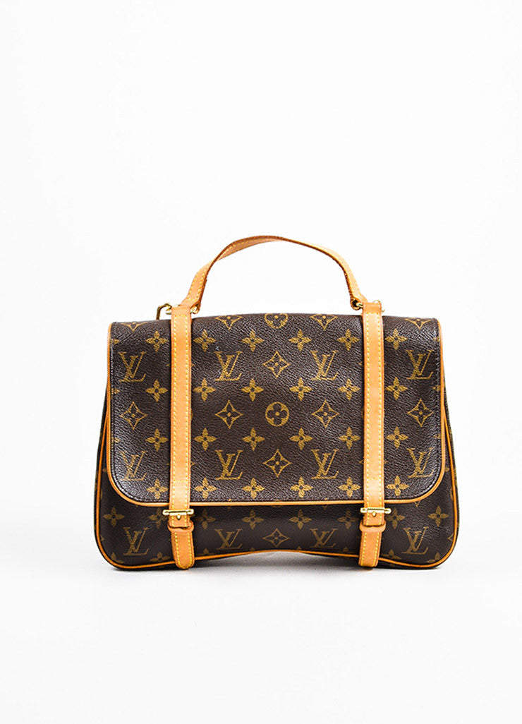 "Louis Vuitton Brown and Tan Coated Canvas Leather Monogram ""Marelle Sac a Dos"" Bag Frontview"