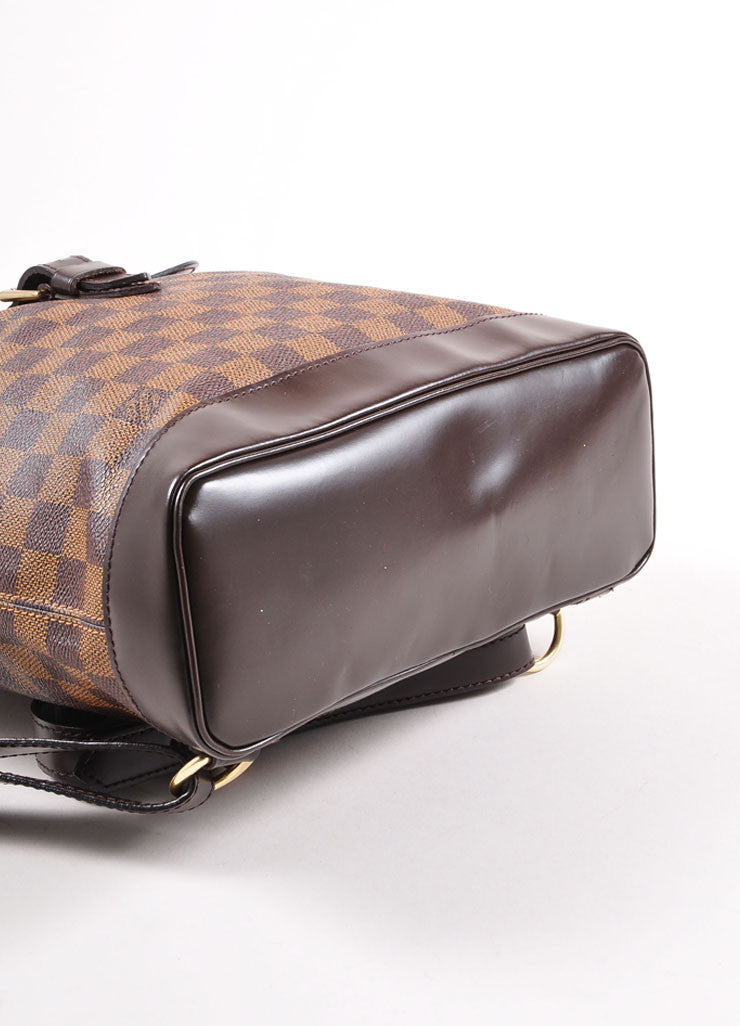 "Louis Vuitton Brown Damier Canvas Ebene ""Soho"" Backpack Bottom View"