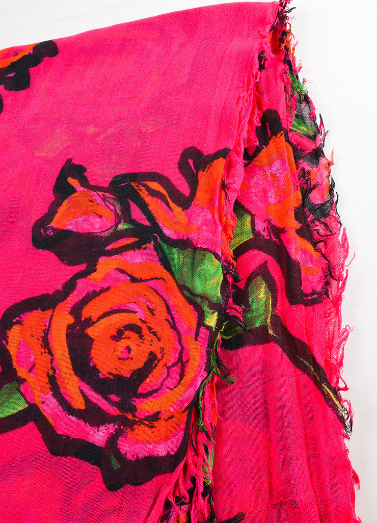 Louis Vuitton x Stephen Sprouse Pink and Red Cashmere and Silk Rose Print Fringe Scarf Detail