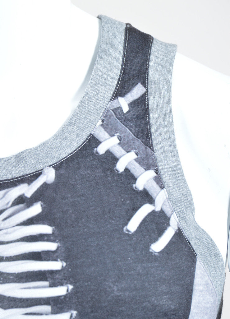Men's Givenchy Grey and Black Laced Photo Print Tank Top Detail