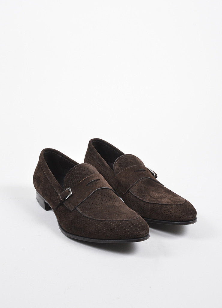 Men's Brown Prada Suede Perforated Buckle Loafers Front