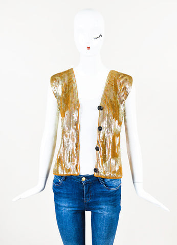 Maison Martin Margiela Tan Ribbed Knit Sequined Vest Frontview