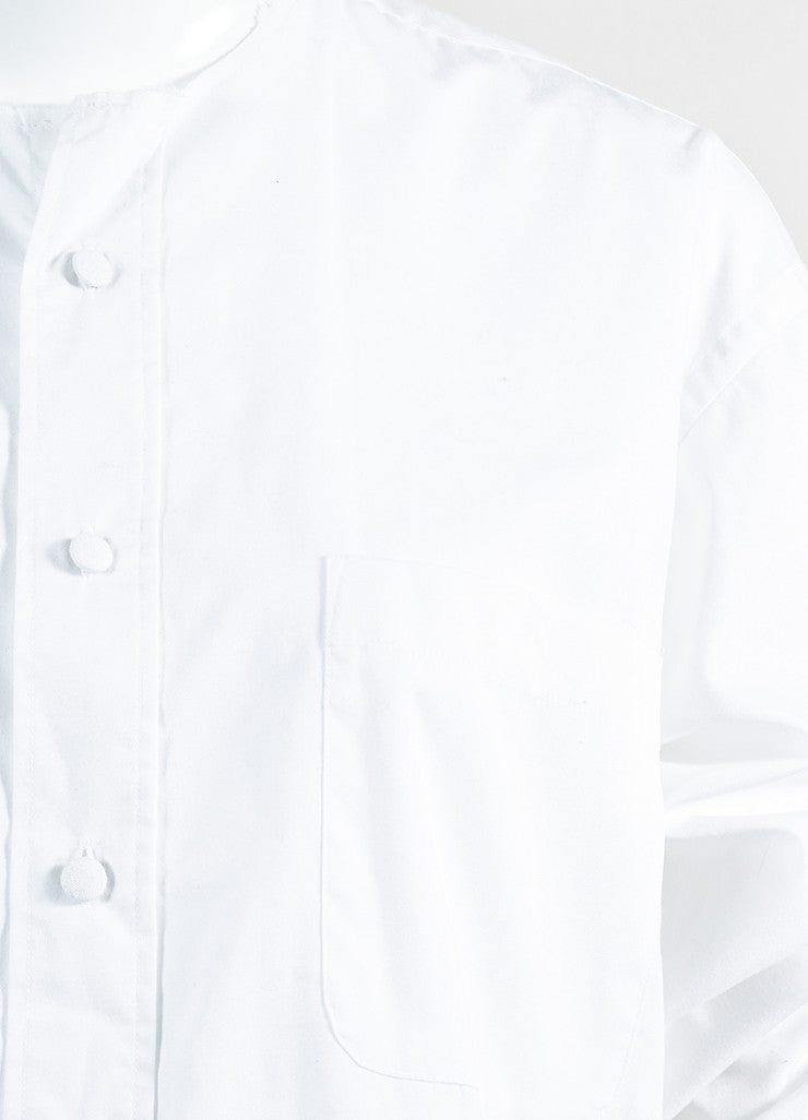 Maison Martin Margiela White Buttoned Shirt with Removable Collar and Cuffs Detail