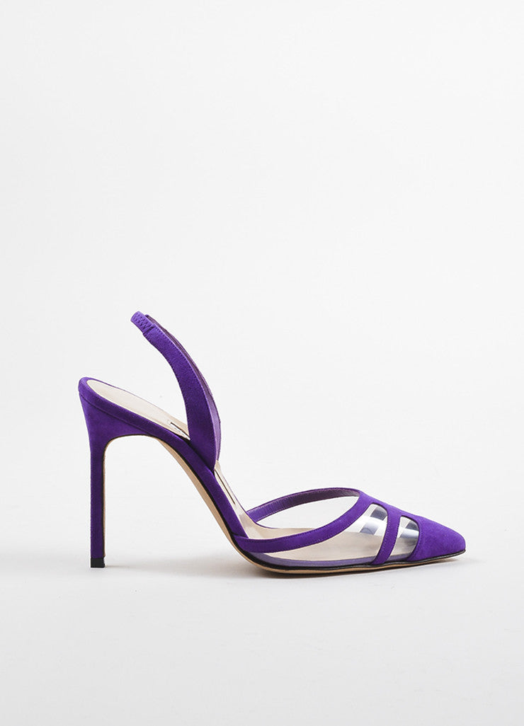 Manolo Blahnik Purple PVC Suede 'Ianc' Pointed Slingback Heels Sideview