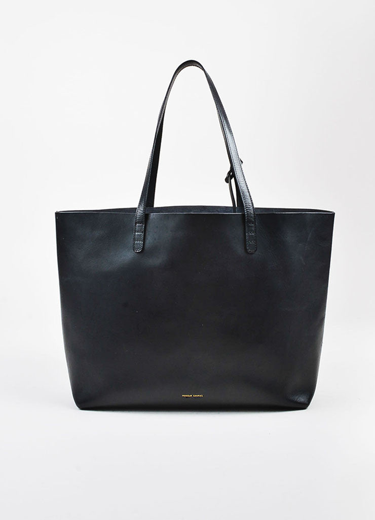 Mansur Gavriel Black Vegetable Tanned Leather Large Top Handle Tote Bag Frontview