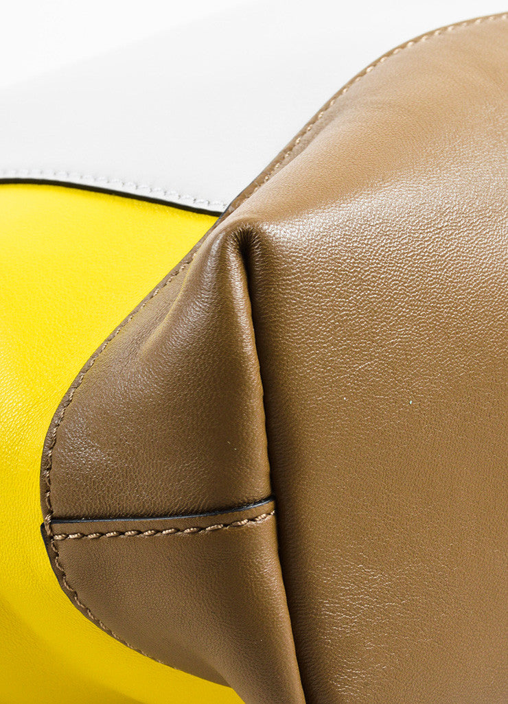 "Marni Yellow, Brown, and Grey Leather Colorblock ""Pod"" Fold Over Clutch Bag Detail"