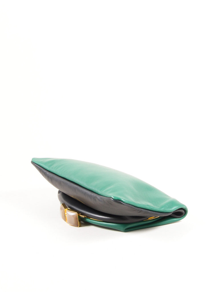 "Marni Green and Black Lamb Leather Foldover ""Muppets"" Clutch Bag Sideview"