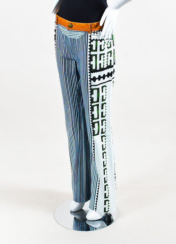 "Mary Katrantzou White, Blue, and Green Denim Mixed Print ""Colma"" Jeans Sideview"