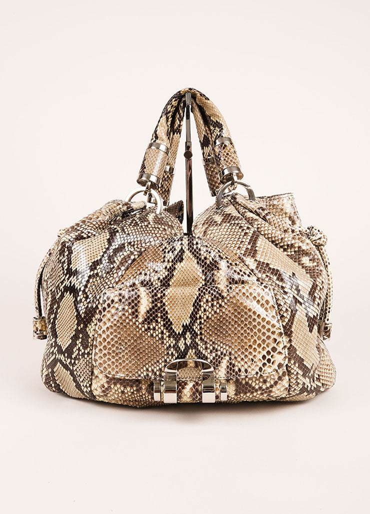 "Michael Kors Brown and Taupe Python ""Tonne"" Handbag Frontview"