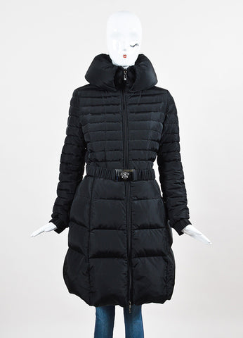 Moncler Black Down Belted Funnel Neck Puffer Coat Frontview