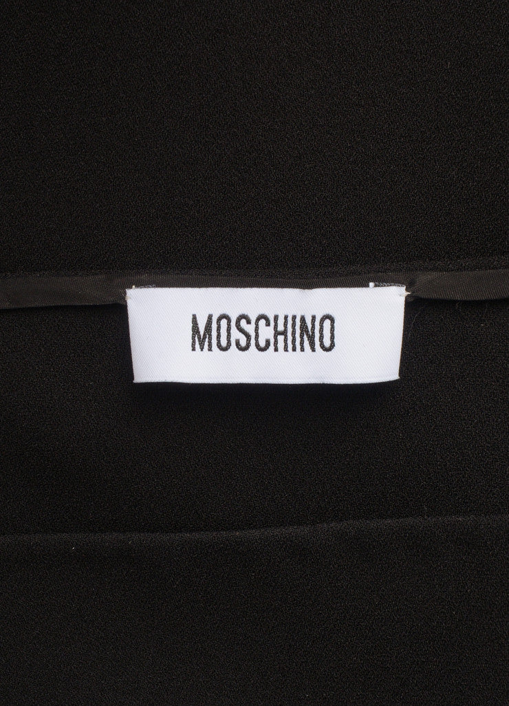 Moschino Black Metallic Tinsel Bottom Long Sleeve Shift Dress Brand