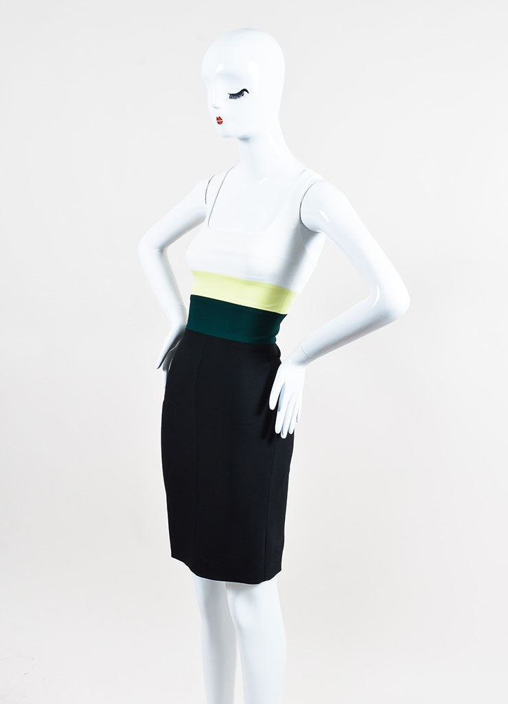 "Narciso Rodriguez Black, White, and Green ""Citrine"" Stripe Sleeveless Dress Sideview"