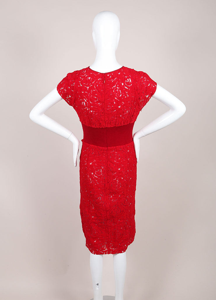 Nina Ricci Red Floral Lace Sleeveless Dress Backview