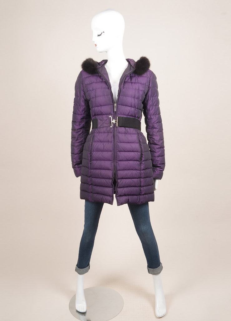 O Oscar de la Renta Purple and Black Fur Trim Belted Down Puffer Coat Frontview