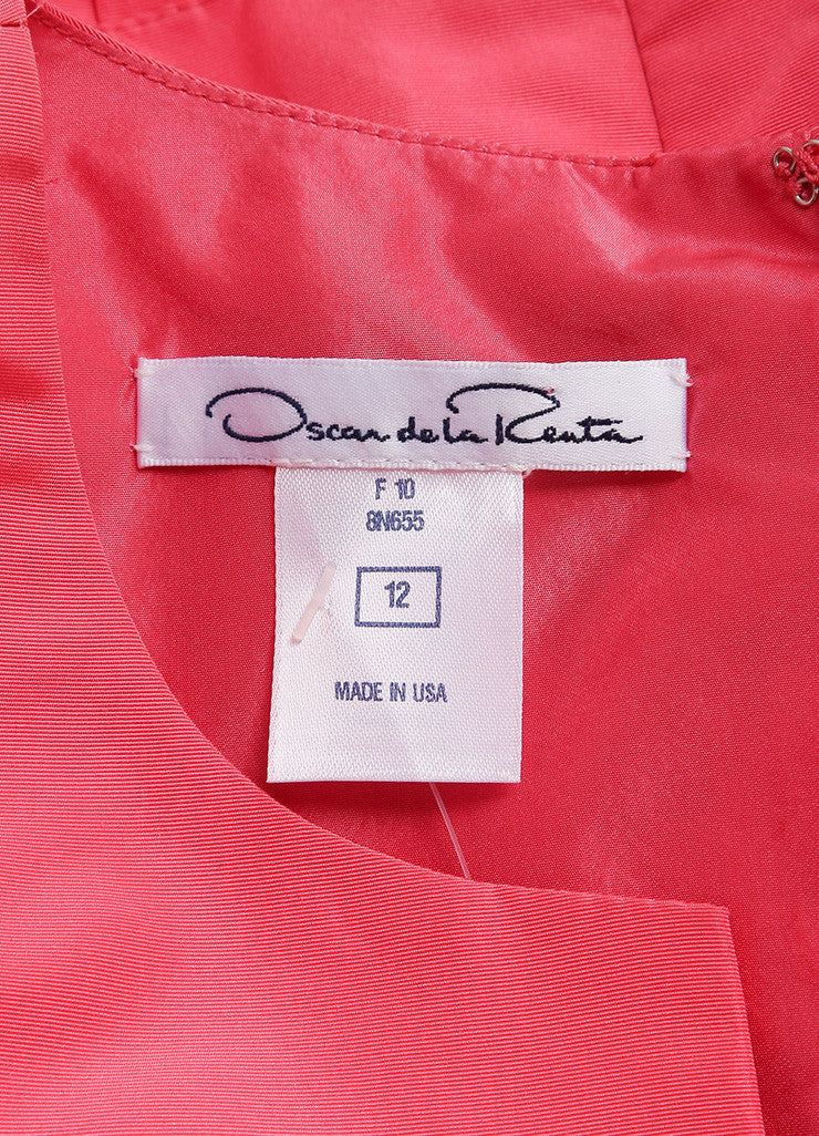 Oscar de la Renta Pink Silk Taffeta Pleated Bust and Drop Waist Sleeveless Dress Brand