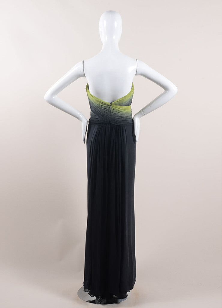 Pamella Roland Green and Black Ombre Silk Chiffon Strapless Gown Backview