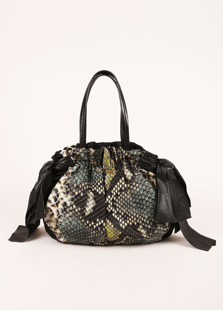 Prada Black and Green Nylon and Leather Trim Snakeskin Print Bow Shoulder Bag Frontview