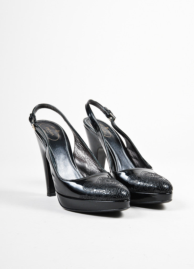 Black Prada Patent Embroidered Filigree Toe Slingback Heels Frontview