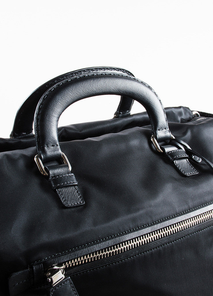 Prada Black Nylon Leather Top Handle Zip Weekender Tote Bag Detail 2