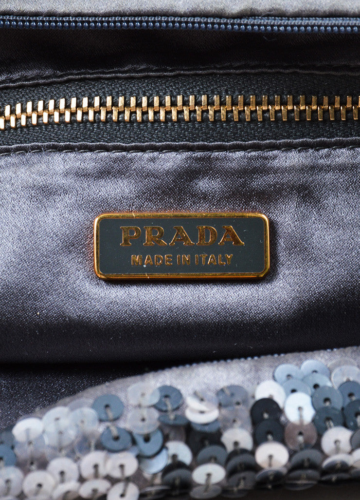 Prada Grey Satin Sequin Embellished Evening Shoulder Bag Brand