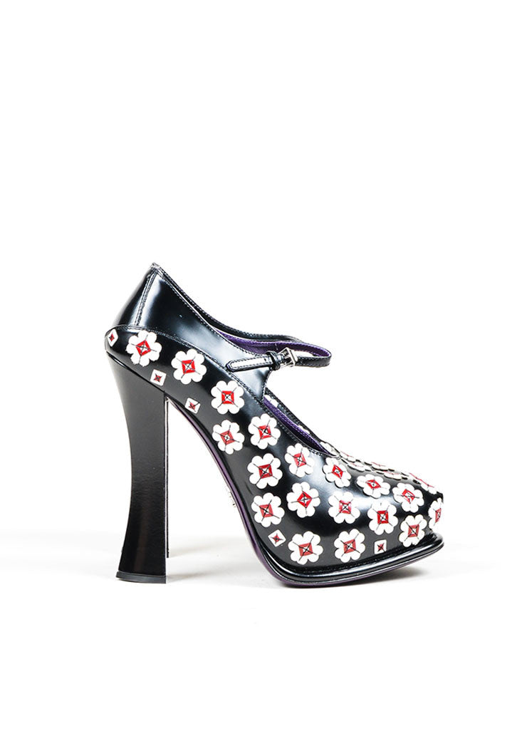 Black and White Prada Leather Flower Mary Jane Platform Pumps Sideview