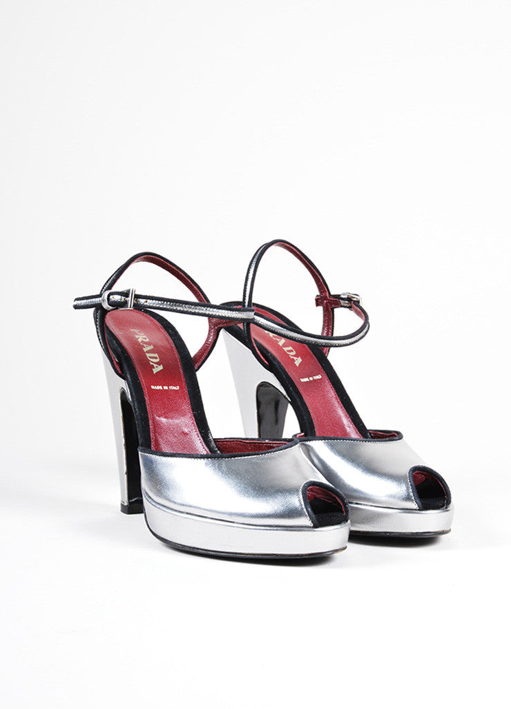Prada Silver Leather Peep Toe Ankle Strap Sandals Front