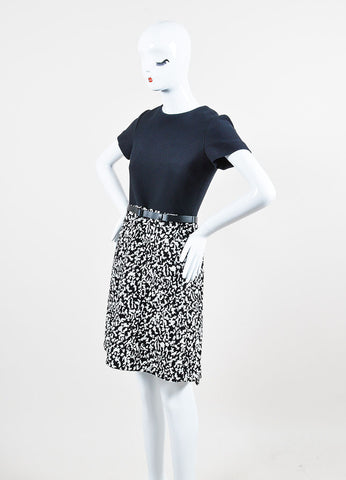 Black and White Proenza Schouler Crepe Boucle Belted Short Sleeve Dress  Sideview