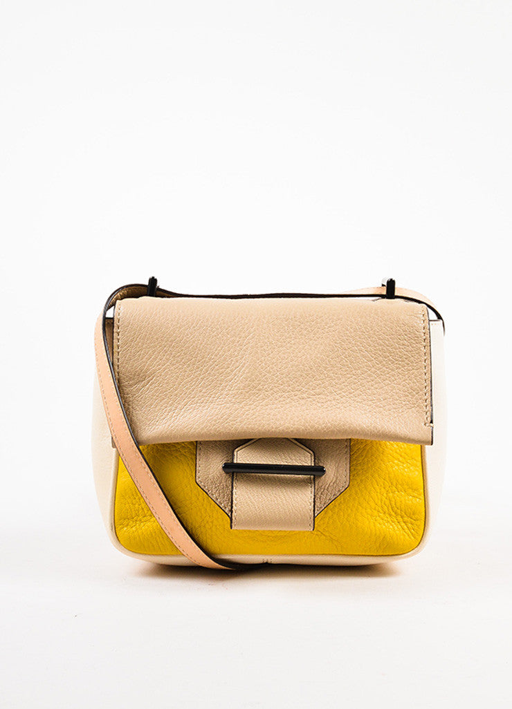 Reed Krakoff Cream, Yellow, and Taupe Leather Color Block Cross Body Bag Frontview