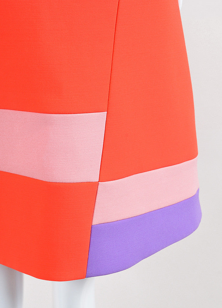 "Coral and Lavender Roksanda Color Block Crepe ""Albin"" A-Line Dress Detail"