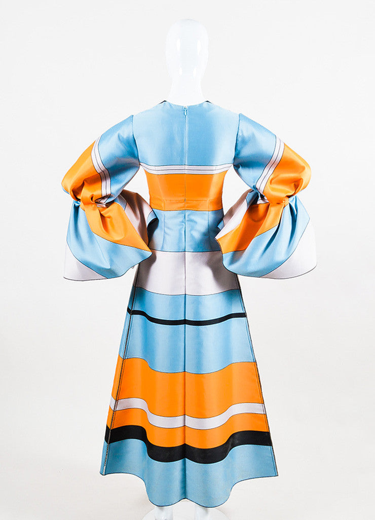 Blue & Orange Roksanda Jacquard Striped Puff Long Sleeve Dress Back