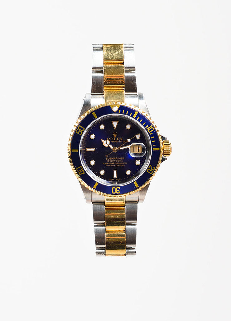 "Men's Rolex Stainless Steel 18k Yellow Gold ""Submariner"" Oyster Perpetual Watch Frontview"