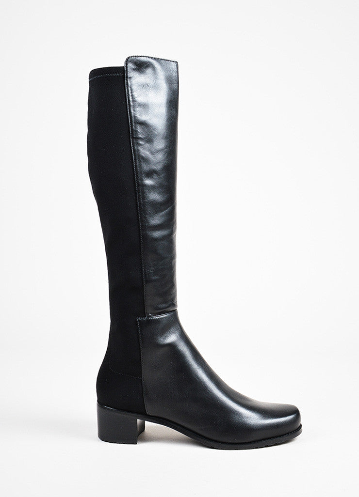 "Stuart Weitzman Black Leather Elastic ""Reserve"" Tall Boots Sideview"