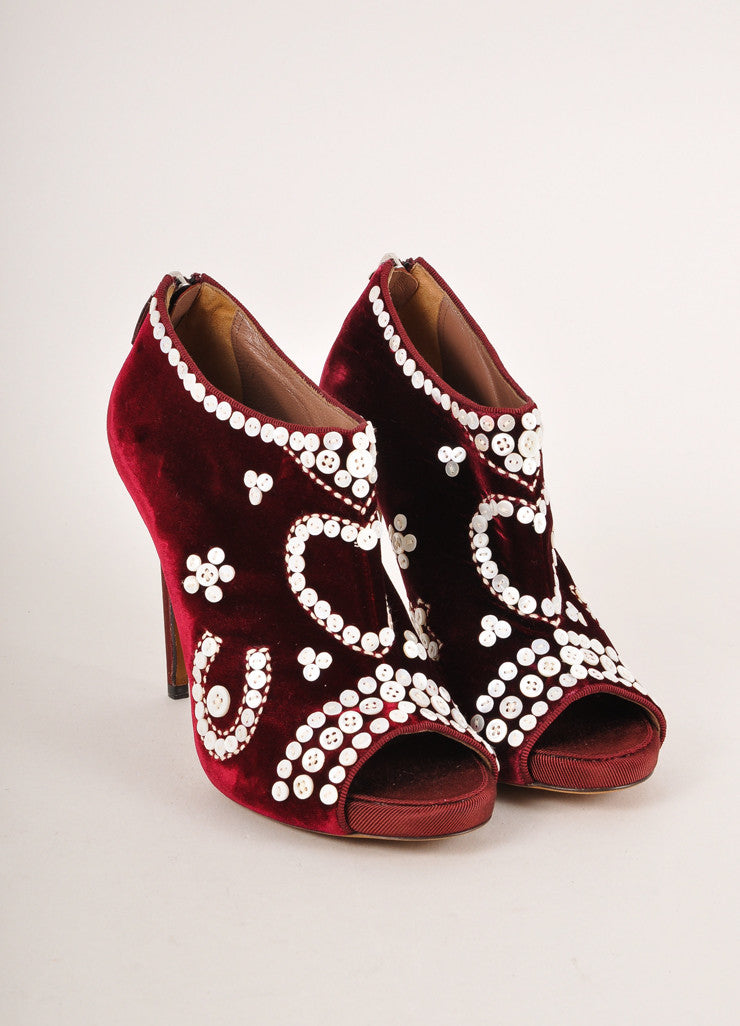 Tabitha Simmons Red Pearl Button Detail Velvet Peep Toe Ankle Booties Frontview