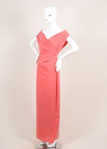 Talbot Runhof Coral Pink Silk Blend Taffeta Crossover Bust Sleeveless Gown Sideview