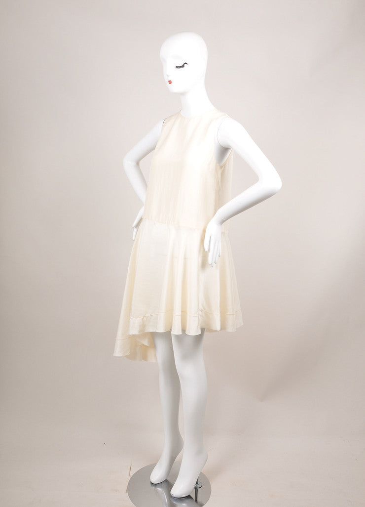"The Row Cream Silk Sleeveless Asymmetric ""Raya"" Tunic Dress Sideview"