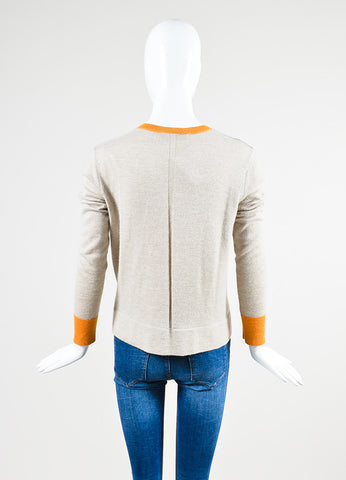 The Row Oatmeal Beige, Bright Orange, and Teal Green Color Block Sweater Backview
