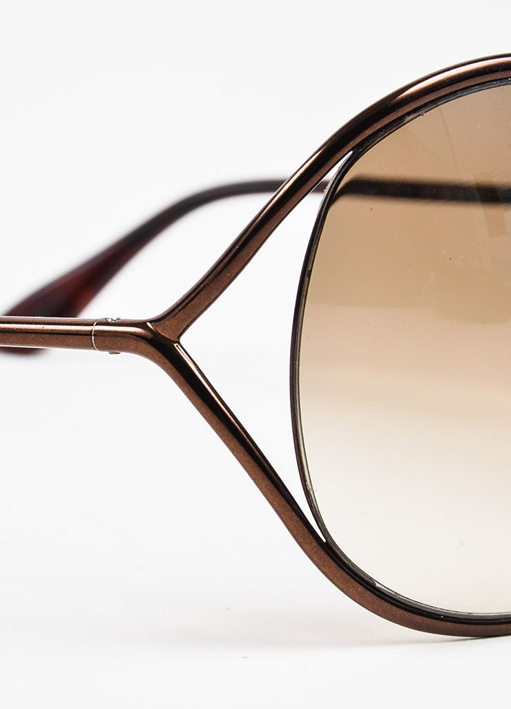 "Tom Ford Bronze Gradient Tint Cross Over ""Lilliana"" Butterfly Sunglasses Detail"