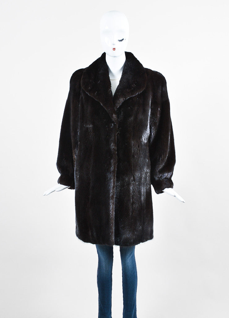 Dark Blackglama Brown Mink Fur Long Sleeve Coat Frontview 2