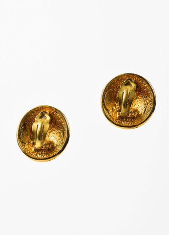 Gold Toned Chanel Star '1990' Clip On Button Earrings Backview
