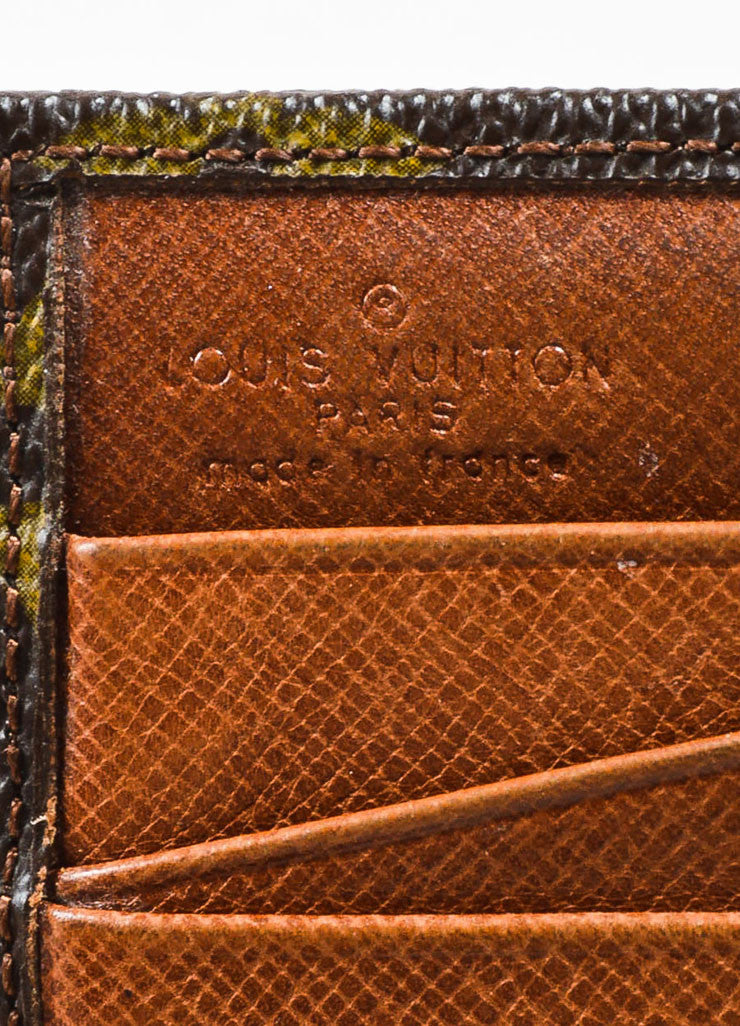 Louis Vuitton Brown Coated Canvas Monogram Snap Billfold Wallet Brand