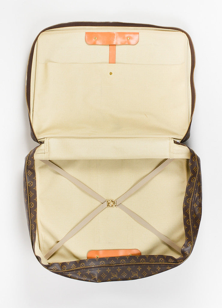 "Louis Vuitton Brown and Tan Canvas and Leather Monogram ""Sirius 60"" Suitcase interior"