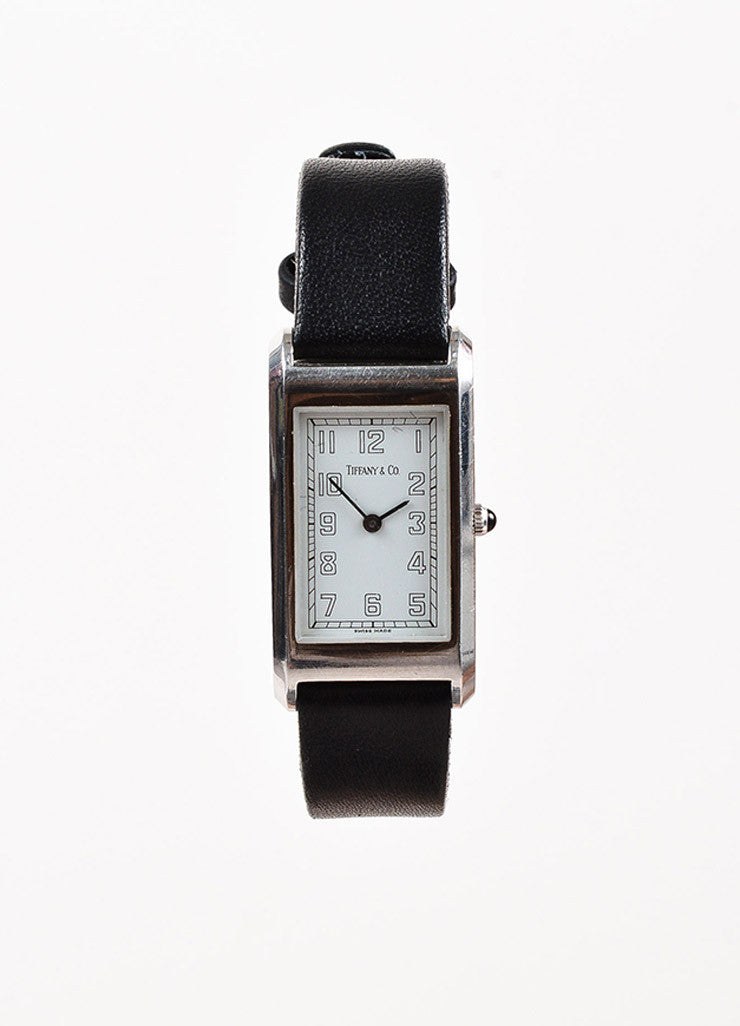 Tiffany & Co. Black Leather Quartz & Stainless Steel Rectangular Watch Front 2