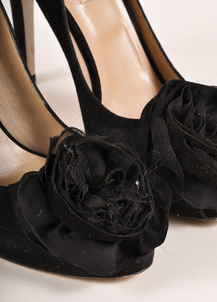 Valentino Black Suede Leather Chiffon Rosette Embellished Peep Toe Pumps Detail