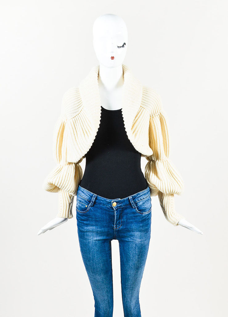 Valentino Cream Cashmere and Wool Knit Puff Sleeve Shrug Sweater Frontview
