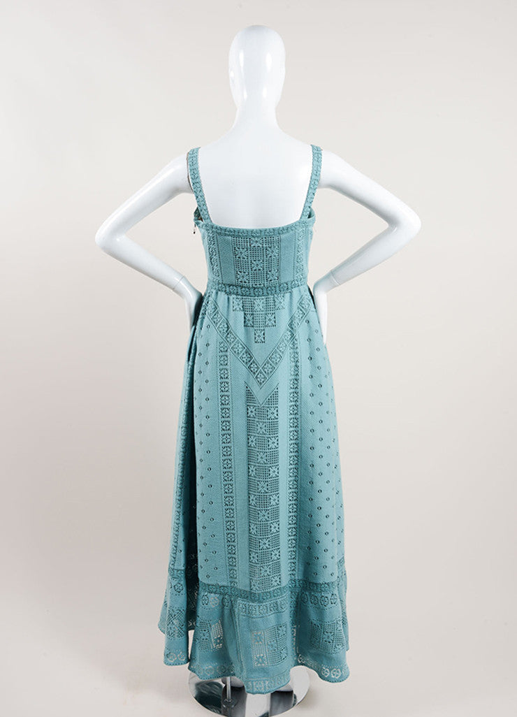 Valentino Teal Cotton Lattice Stitched Crochet Sleeveless Maxi Dress Backview